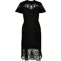 RI Plus black lace midi dress