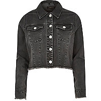 Veste en jean noir avec ourlet brut