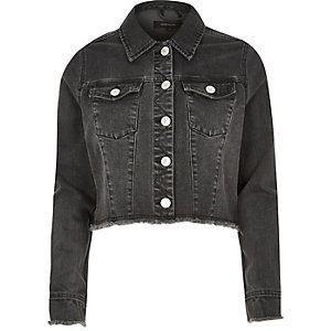 Black frayed hem denim jacket