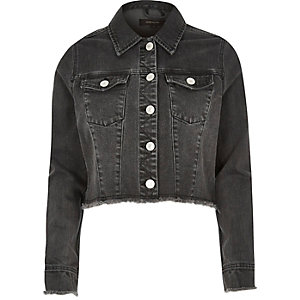 Black frayed hem denim jacket