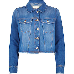 Bright blue frayed hem denim jacket