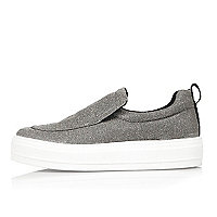 Silver slip on trainers