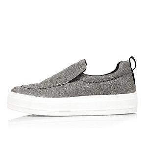 Silver slip on sneakers