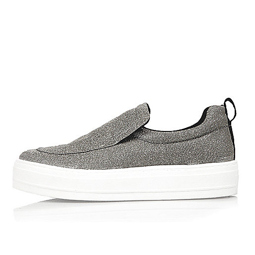 Silver slip on sneakers