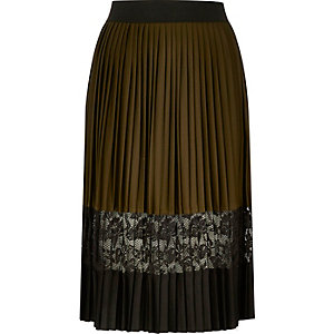 Khaki pleated lace panel midi skirt
