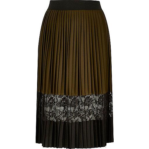 Khaki pleated lace panel midi skirt