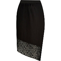 Black asymmetric pleated lace skirt