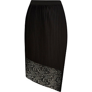 Black asymmetric pleated lace skirt