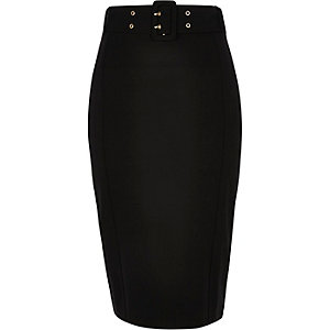 Black belted pencil skirt