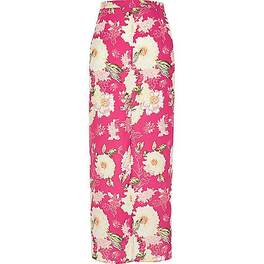 Jupe longue imprimé à fleurs rose