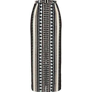 Black diamond print festival maxi skirt