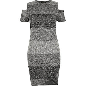 RI Plus grey stripe cold shoulder dress