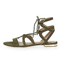 Khaki strappy lace up flat sandals
