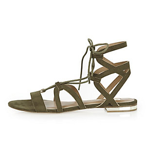 Khaki strappy lace up flat sandals