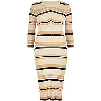 Cream stripe ribbed midi dress