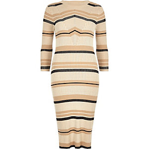 Cream stripe ribbed midi dress
