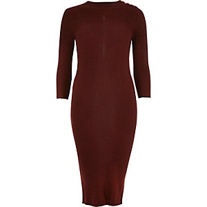 Dark red ribbed midi dress