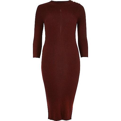 Dark red ribbed midi dress