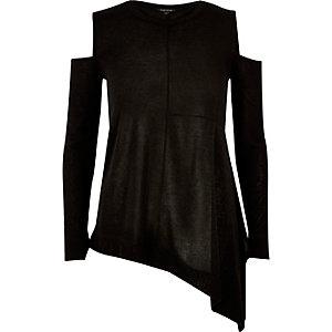 Black knitted asymmetric top