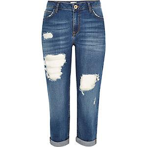 Blue ripped boyfriend cropped jeans