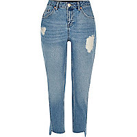 Mid blue wash ripped girlfriend jeans