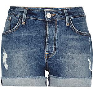 Mid blue wash boyfriend denim shorts