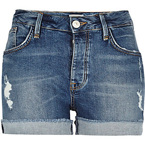 Mid blue wash denim shorts