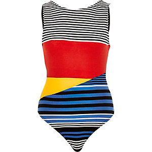 Black stripe colour block bodysuit