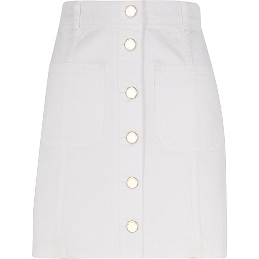 White button-up skirt