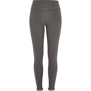 Dark grey stretch-jersey leggings