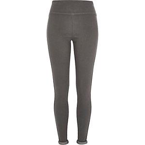 Dark grey stretch-jersey leggings