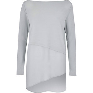 Grey asymmetric longline top