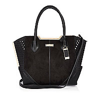 Black laser cut winged tote handbag