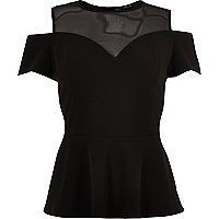 RI Plus black mesh peplum top