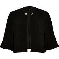 Black eyelet cape jacket