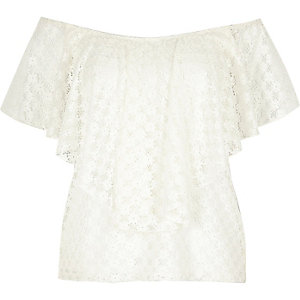 RI Plus white frilly bardot top