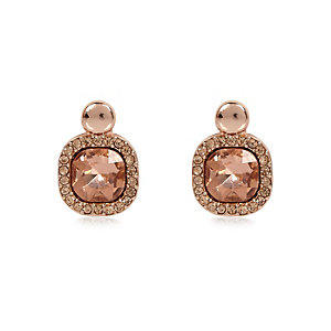 Rose gold stone stud earrings