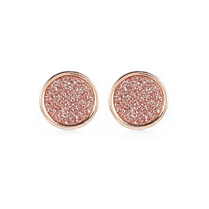 Rose gold tone glitter stud earrings