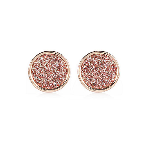 Rose gold tone glitter stud earrings