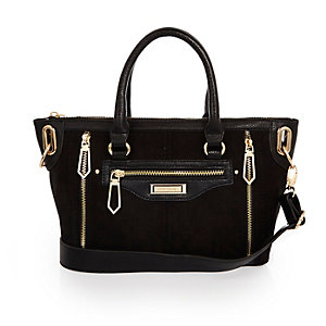 Black mini tote handbag