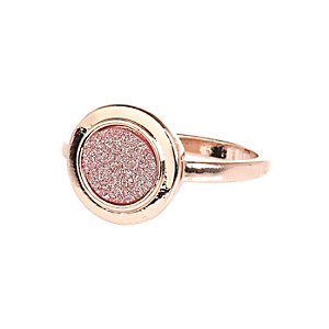 Rose gold tone glitter signet ring