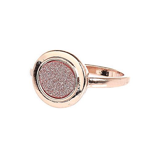 Rose gold tone glitter signet ring
