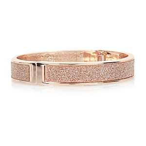 Rose gold tone glitter cuff
