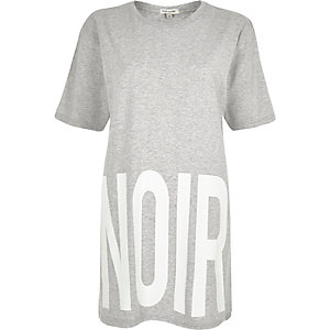 Grey print oversized t-shirt