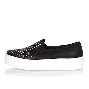 Black embellished slip on sneakers