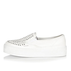 White embellished slip on sneakers