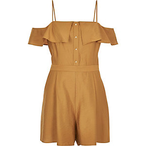 Dark yellow frilly bardot romper