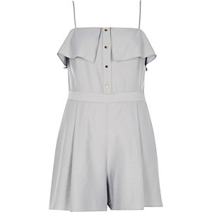 Grey frilly bardot romper