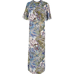 Blue paisley maxi dress