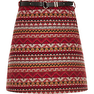 Red belted A-line mini skirt